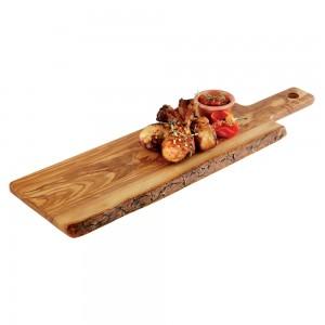 """Ξύλο σερβιρίσματος / πλατώ """"Olive"""", με λαβή 11 cm 40x15 cm   1,5 cm"""